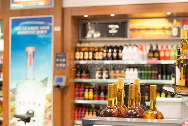 Duty free shop. In a airport royalty free stock images