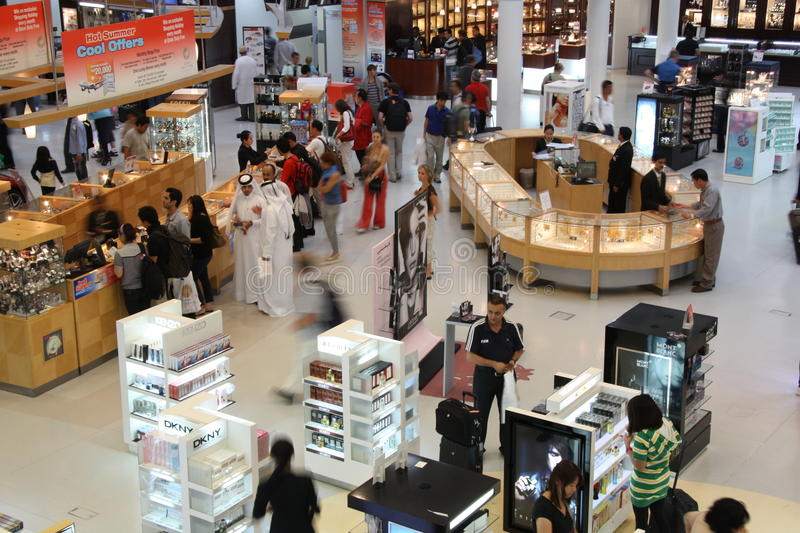 Duty free shop in Doha airport stock images