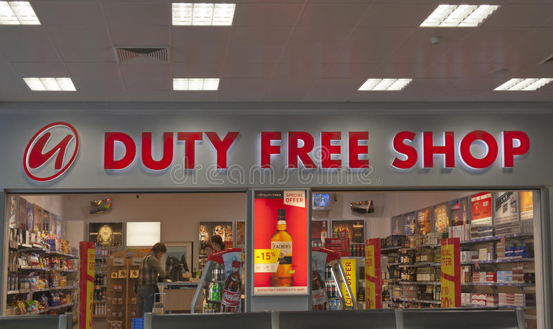 Duty Free Shop In Prague Airport Editorial Stock Image