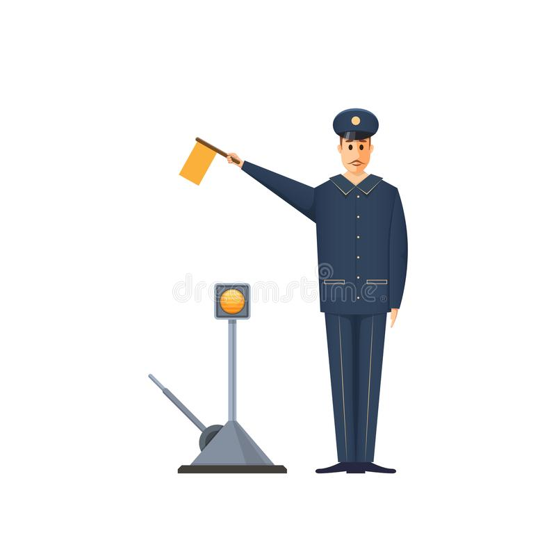 Free Duty Railroader, Officer At Station Is Signaling. Controller Railway Station. Royalty Free Stock Image - 112562846