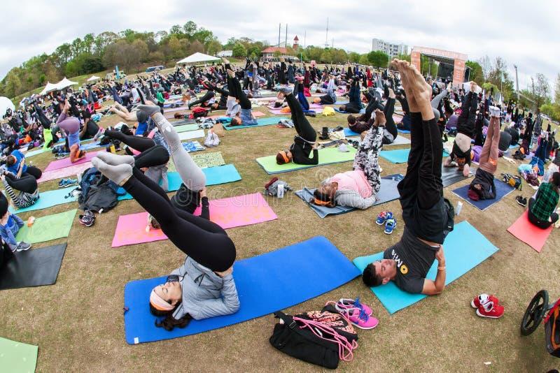 Dutzende Leute-Punkt-Zehen, die aufwärts draußen Yoga-Haltung tun lizenzfreies stockfoto