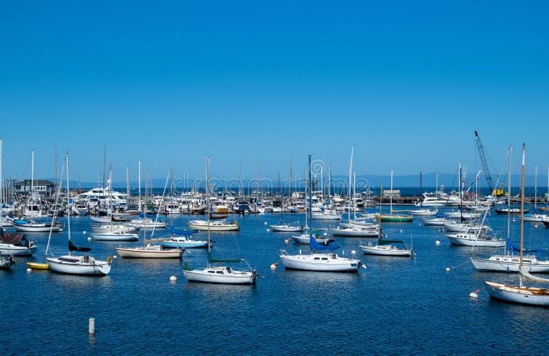 Dutzende Segelboote in einem Hafenjachthafenbereich stockfotos