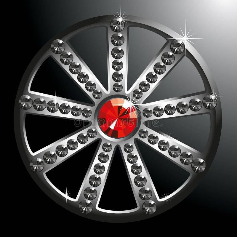 Duur zilveren diamantwiel stock illustratie