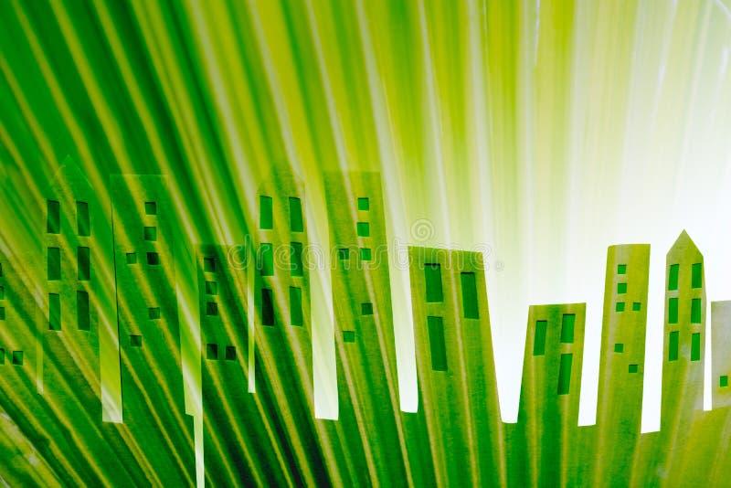 Duurzaam gebouwenconcept nieuwe woonwijk in groen vector illustratie