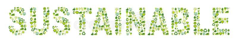 Duurzaam Word gevuld met eco vriendschappelijke en bio verwante pictogrammen stock illustratie