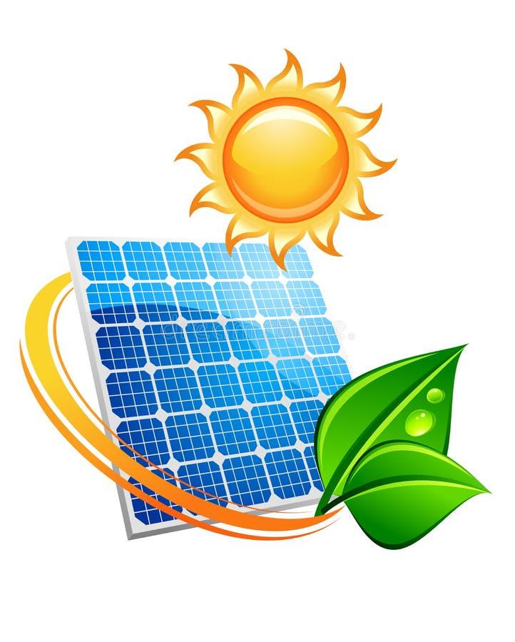 Duurzaam zonne-energieconcept stock illustratie