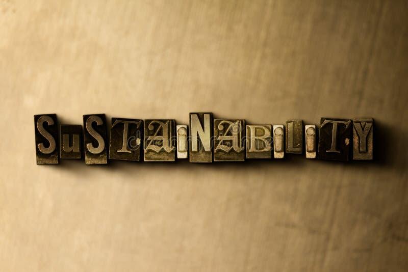 DUURZAAMHEID - close-up van grungy wijnoogst gezet woord op metaalachtergrond vector illustratie