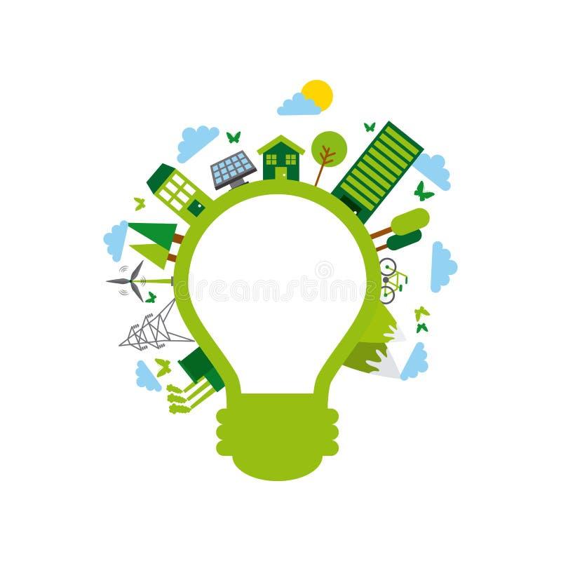duurzaamheid en ecologieontwerp stock illustratie