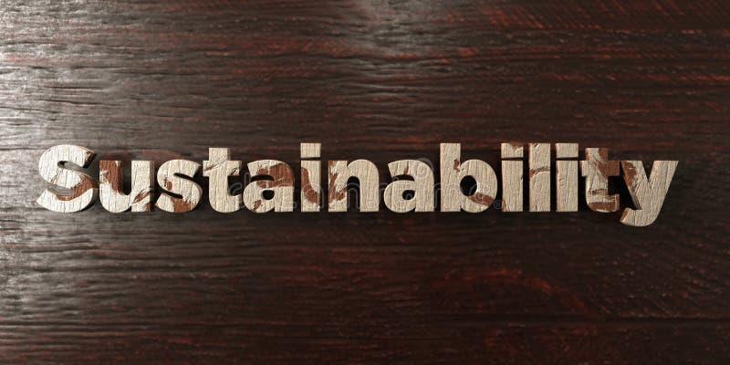 Duurzaamheid - grungy houten krantekop op Esdoorn - 3D teruggegeven royalty vrij voorraadbeeld vector illustratie
