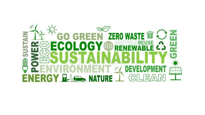Duurzaamheid, Milieu en Ecologieconcepten met vlakke pictogrammen en markering stock illustratie