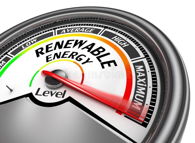 Duurzame energie aan maximumniveau moderne conceptuele meter royalty-vrije illustratie