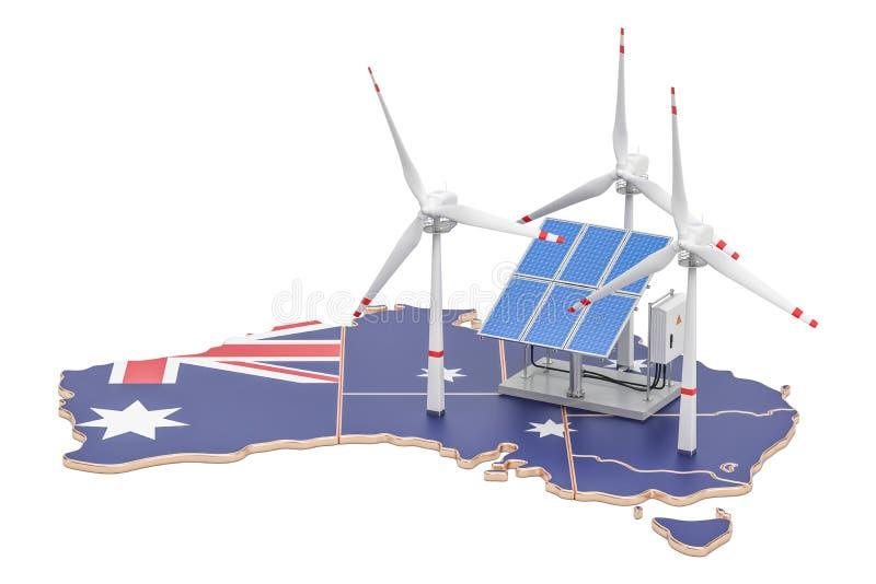 Duurzame energie en duurzame ontwikkeling in Australië, conce royalty-vrije illustratie