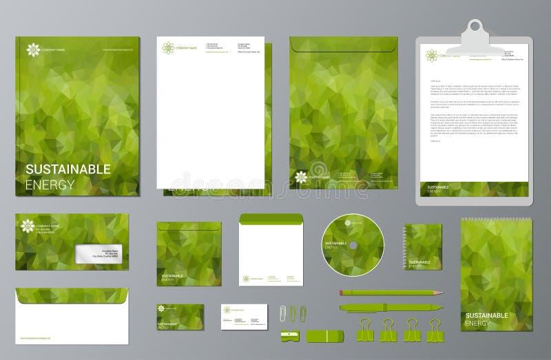 Duurzame energie het brandmerken kantoorbehoeftenreeks vector illustratie