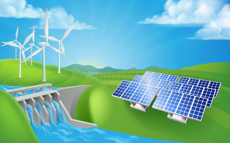 Duurzame energie of Machtsgeneratiemethodes stock illustratie