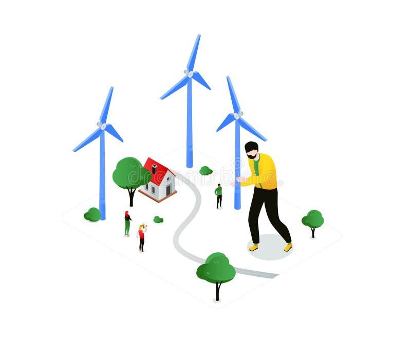 Duurzame energie - moderne kleurrijke isometrische vectorillustratie royalty-vrije illustratie