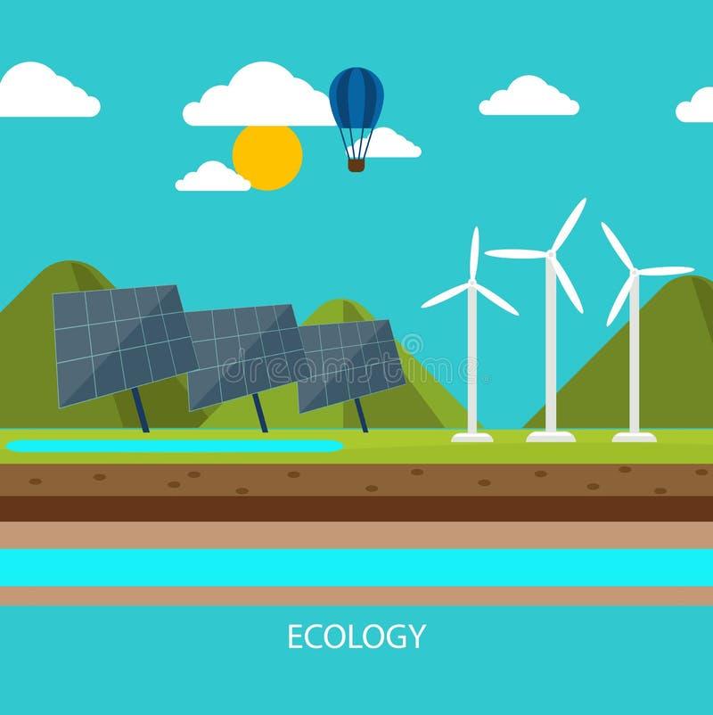 Duurzame energie zoals hydro, zonne en windenergie royalty-vrije illustratie