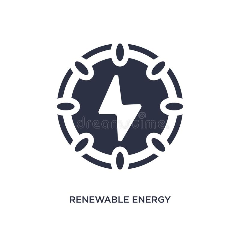 Duurzame energiepictogram op witte achtergrond Eenvoudige elementenillustratie van ecologieconcept royalty-vrije illustratie