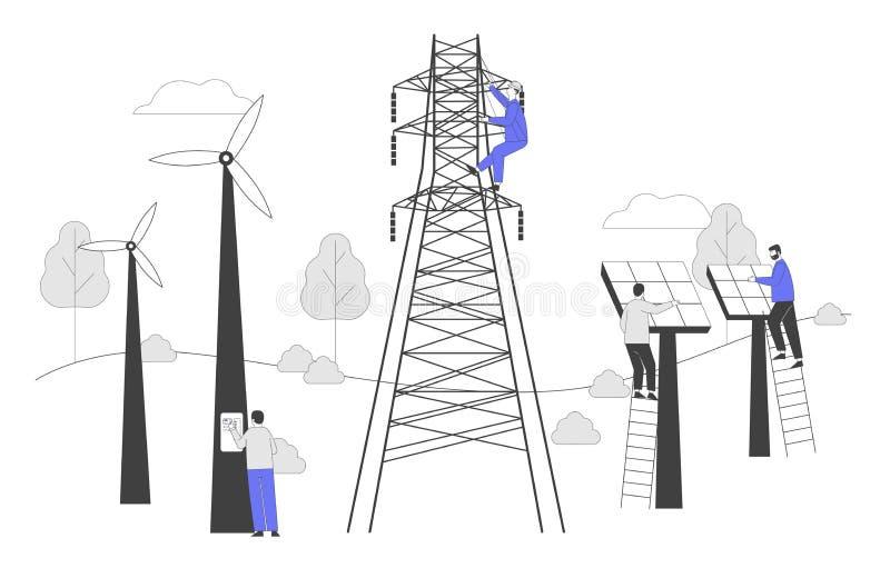 Duurzame ontwikkeling van groene energie, milieu- en milieubescherming Integratie van nieuwe technologieën stock illustratie