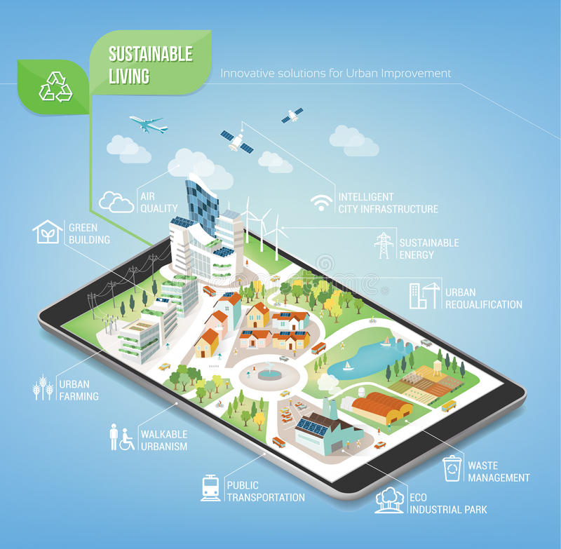 Duurzame stad royalty-vrije illustratie