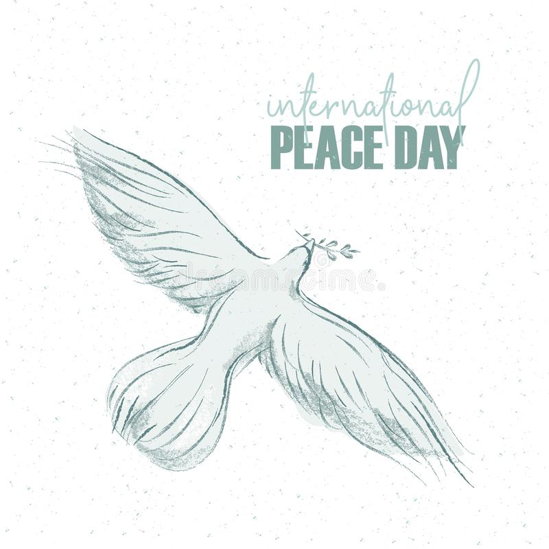 Duva med en skriftlig text för kvist och för hand, bakgrund för internationell dag av fred Vektorillustration, design stock illustrationer