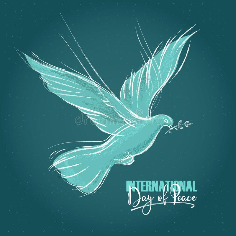 Duva med en skriftlig text för kvist och för hand, blå bakgrund för internationell dag av fred Vektorillustration, design stock illustrationer