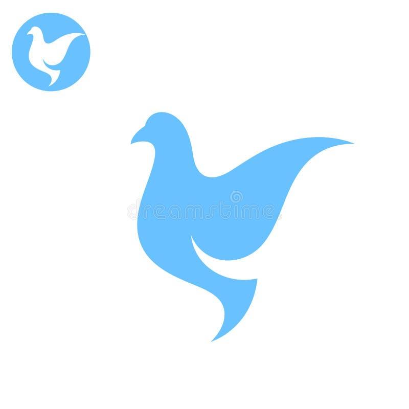 Duva Stiliserad fågel på vit bakgrund vektor illustrationer