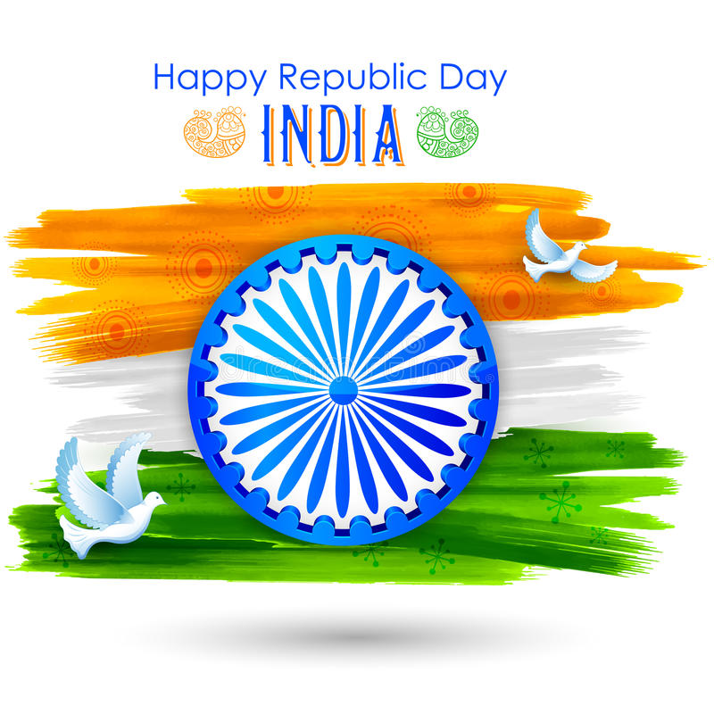 Duvaflyg med indisk tricolor flaggavisningfred vektor illustrationer
