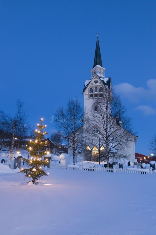Duved church christmas tree stock image