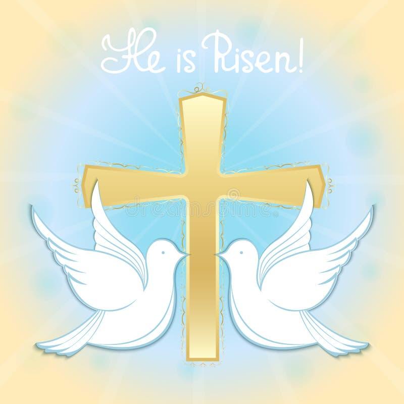 Duvor i himlen mot bakgrunden av korset dop jesus Handbokstäver är han uppstigen text för avstånd för bakgrundseaster hälsning vektor illustrationer