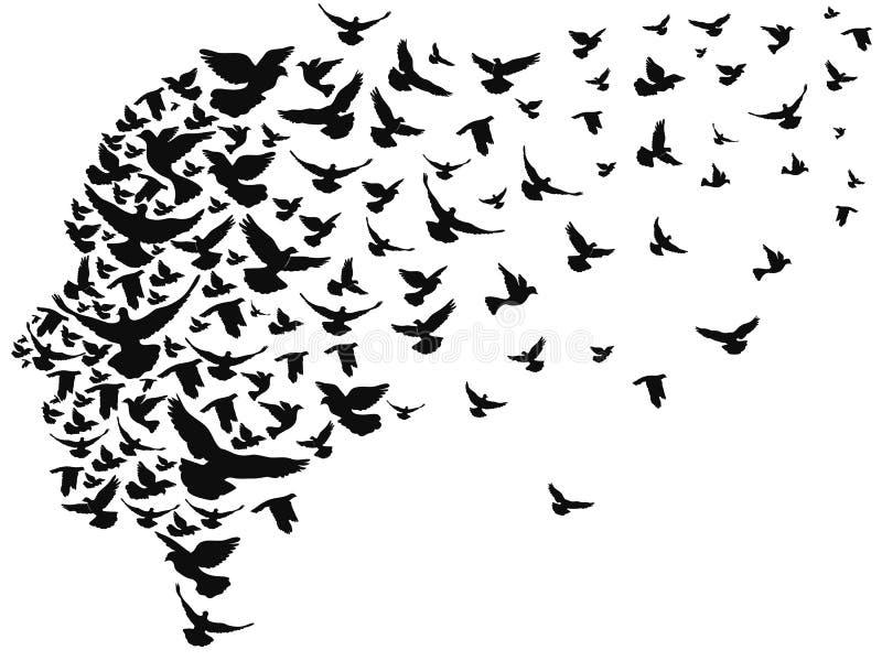 Duvor som bort flyger med det mänskliga huvudet stock illustrationer