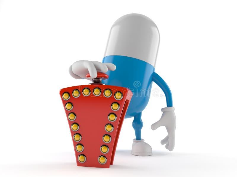Duwende de quizknoop van het pillenkarakter stock illustratie