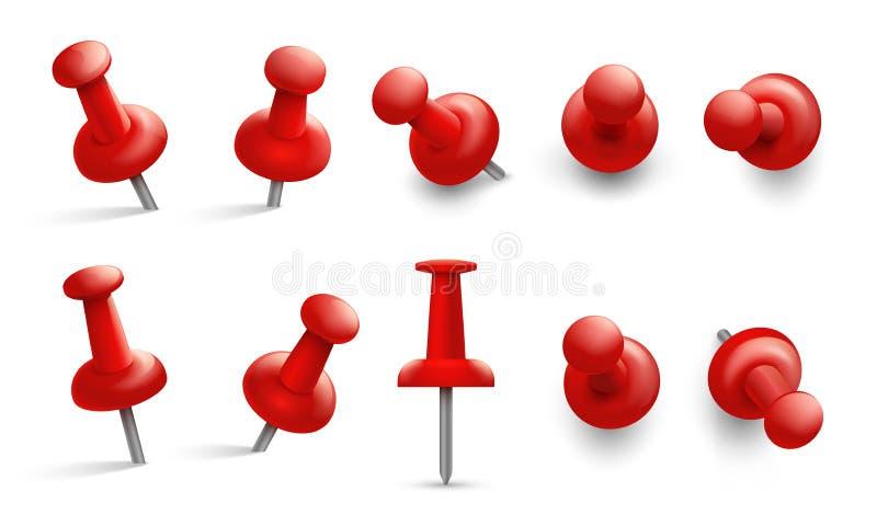 Duwspeld in verschillende hoeken Rode punaise voor gehechtheid De punaisen met metaalnaald en rood hoofd isoleerden vectorreeks royalty-vrije illustratie