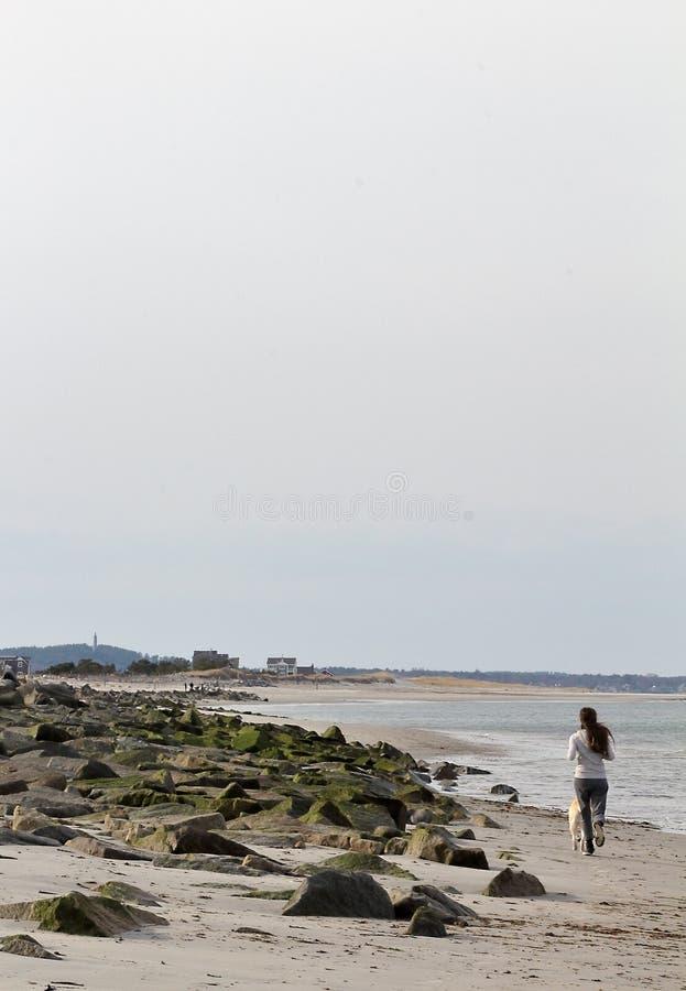 Duxbury, le Massachusetts Belle vue tôt de ressort de plage de Duxbury au coucher du soleil avec des personnes marchant sur la p photos libres de droits
