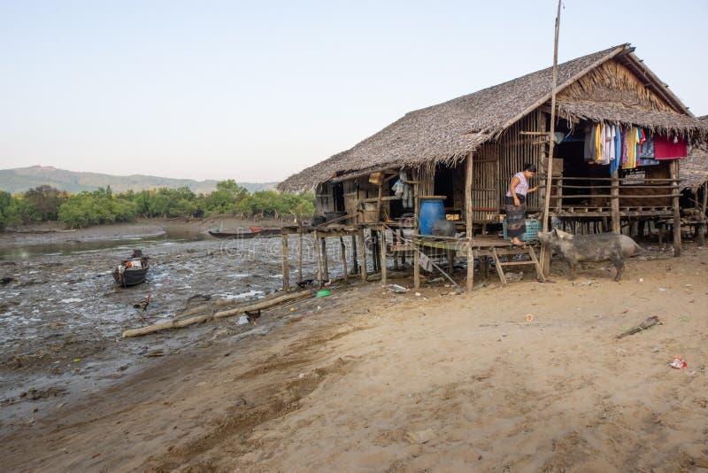 Duya/myanmar-24 02 2017: Het bamboehuis, vrouw en haar varken royalty-vrije stock afbeeldingen