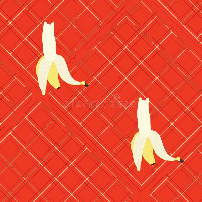 Duzi banany na czerwonej szkockiej kracie ilustracja wektor
