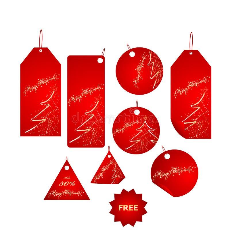 duzi boże narodzenia przylepiają etykietkę czerwień set ilustracji