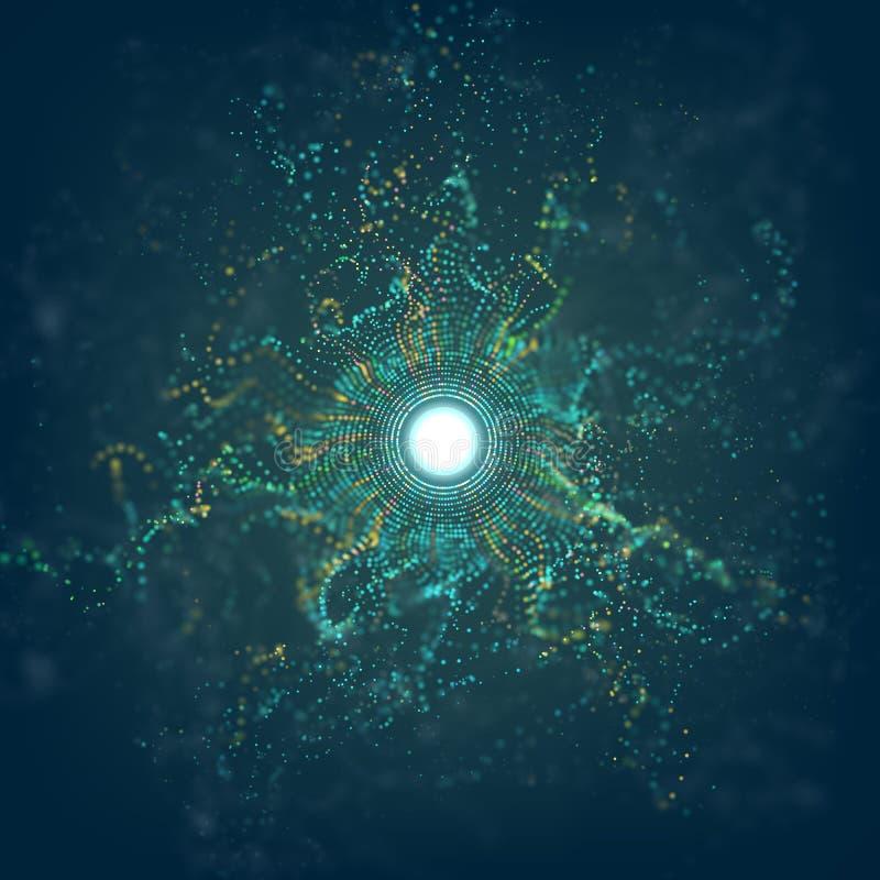 Duzi dane okrążają cząsteczki siatki wybuch z bokeh Ai racy abstrakcjonistyczny wektorowy tło Futurystyczny pył ilustracji