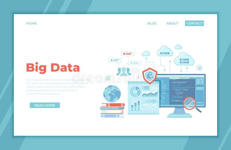 Duzi dane - przetwarzający Infographic analizy analityka, baza danych badanie, sprawozdawczość finansowa, Obłoczny magazyn, Komun ilustracja wektor