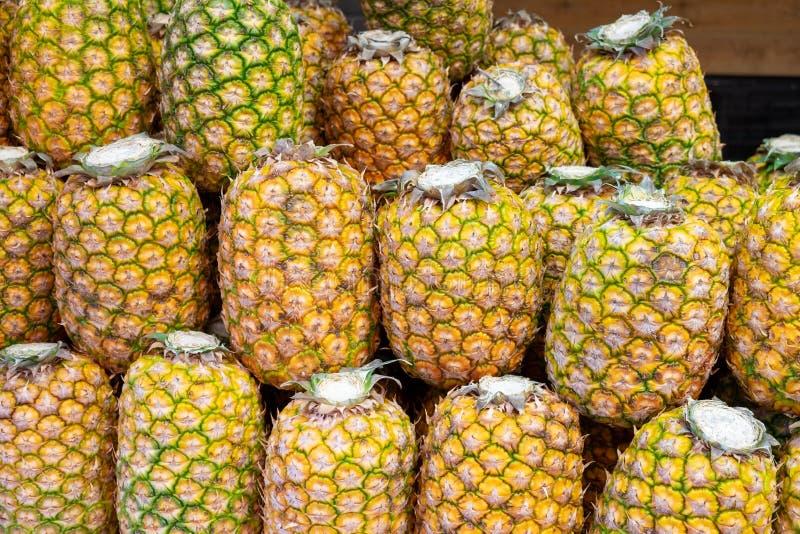 Duzi dojrzali żółci ananasy sprzedający przy rolnikami wprowadzać na rynek fotografia royalty free