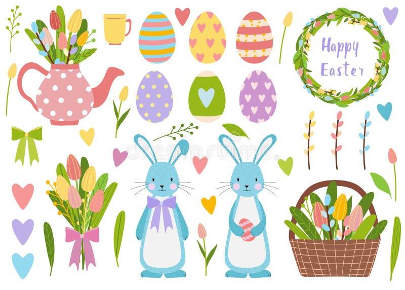 Duzi elementy ustawiający Wiosna czasu Easter jajka, tulipanów kwiaty, wiadro z kwiatami i wierzba, Śliczny teapot z bukietem i ilustracja wektor