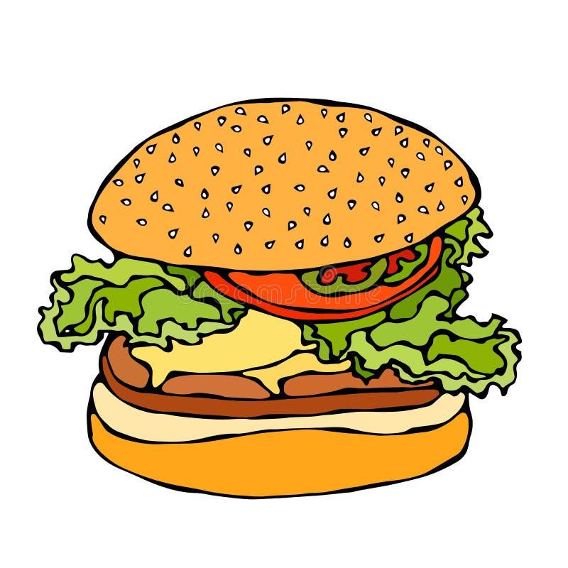 Duzi hamburger, hamburger lub Cheeseburger, pojedynczy białe tło Realistyczna ręka Rysujący Doodle kreskówki stylu nakreślenia we ilustracja wektor