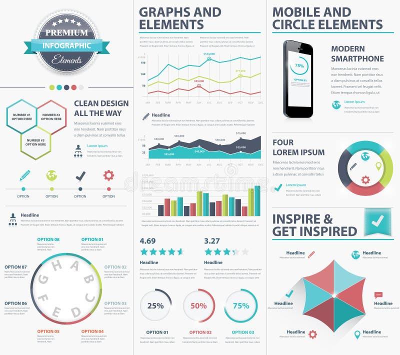 Duzi infographic wektorowi elementy inkasowi unaoczniać dane ilustracja wektor
