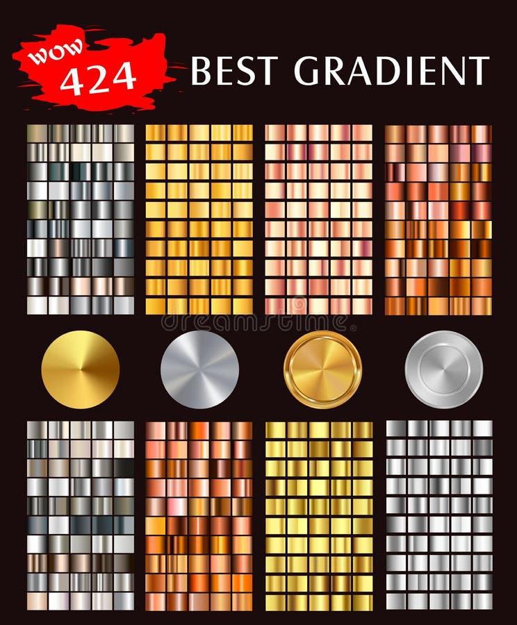 Duzi inkasowi kolorowi kruszcowi gradienty ilustracja wektor