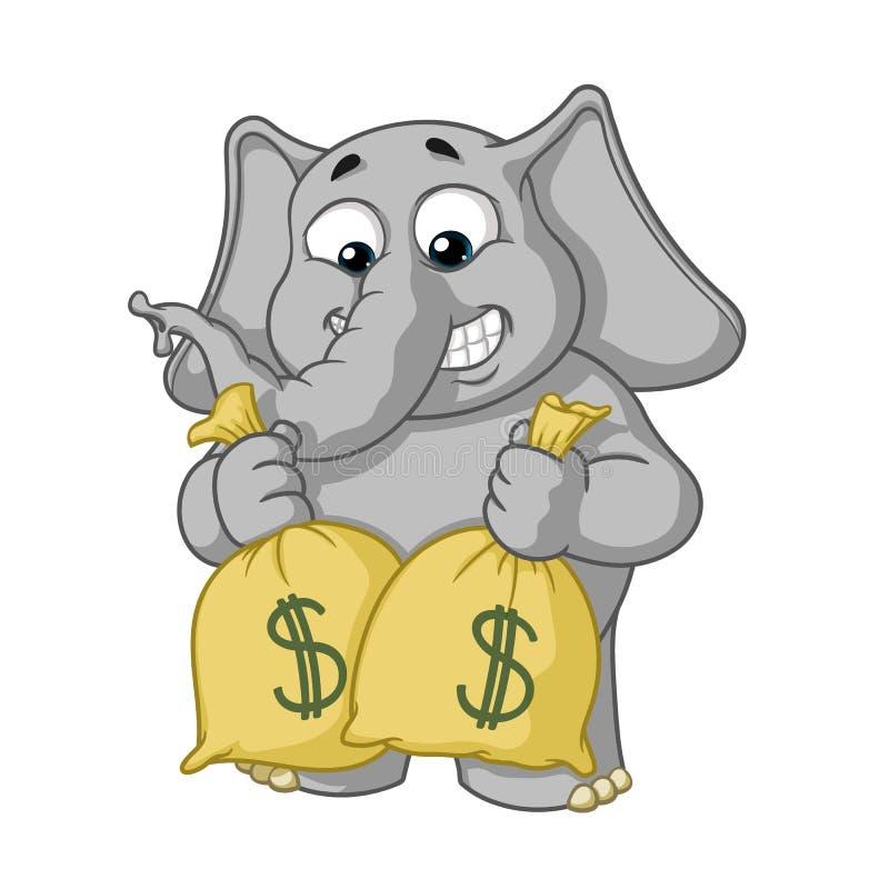Duzi inkasowi wektorowi postać z kreskówki słonie na odosobnionym tle dużo pieniędzy Chwyt torby z pieniądze ilustracji