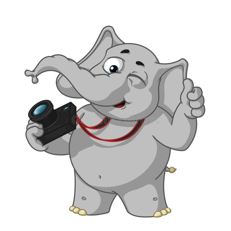 Duzi inkasowi wektorowi postać z kreskówki słonie na odosobnionym tle Fotografów mrugnięcia royalty ilustracja