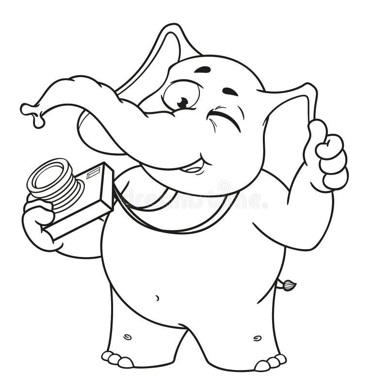Duzi inkasowi wektorowi postać z kreskówki słonie na odosobnionym tle Fotografów mrugnięcia ilustracja wektor