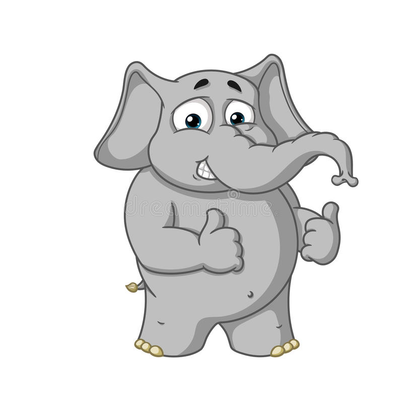 Duzi inkasowi wektorowi postać z kreskówki słonie na odosobnionym tle Przedstawień podobieństwa ilustracji