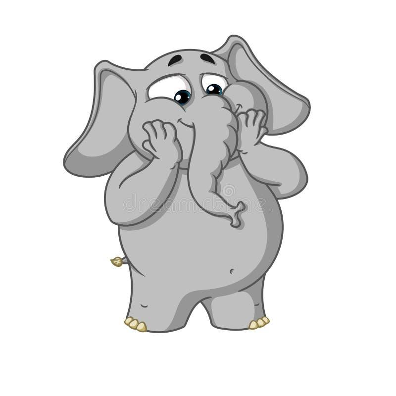 Duzi inkasowi wektorowi postać z kreskówki słonie na odosobnionym tle Z podnieceniem Zdziwiony royalty ilustracja