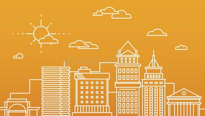 Duzi miasta centrum biznesu drapaczy chmur megapolis budynki w liniowej płaskiej projekta pojęcia nieruchomości architekturze royalty ilustracja