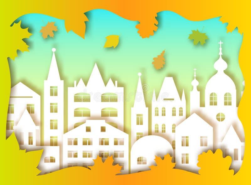 Duzi miasta i jesieni liście ilustracja wektor